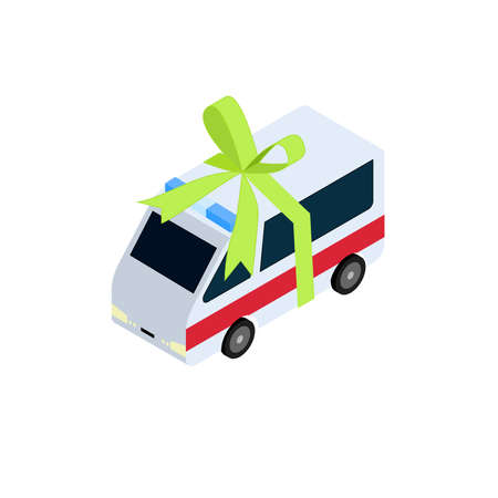 gift accident: Single isometric white and red ambulance with green gift ribbon wrapped around it