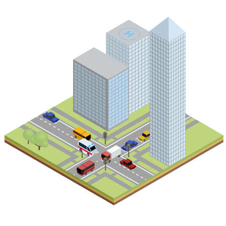 high rise buildings: Isometric urban street with ambulance, bus, truck and cars next to large buildings