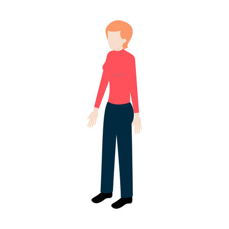 impersonal: Isometric young woman standing full face for info graphics and game design