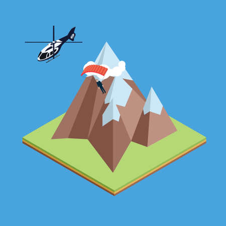 skydiver: Skydiver jumped from helicopter and gliding above mountains Illustration