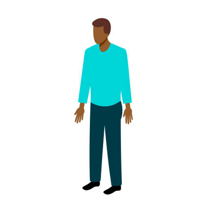 fullface: African-American man in casual clothes standing full-face. Stock Vector Isometric-style games, infographics, reports, websites and icons Illustration