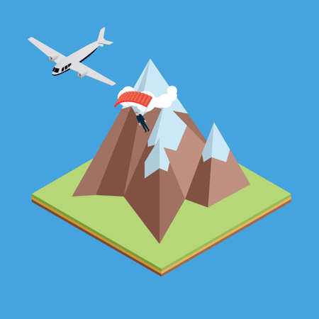 going down: Isometric flying aircraft between mountains with parachutist going down to the ground Illustration