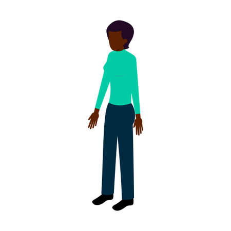 short haired: Afro-American woman standing face to us in casual clothes in isometric style. Vector illustration for infographics, games, reports and websites Illustration