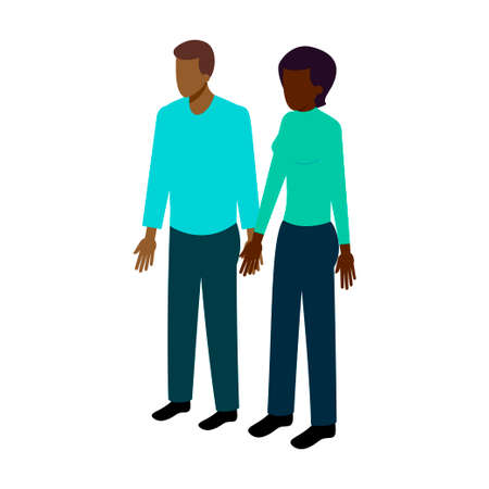african american couple: Couple of African American people in isometric projection hold hands