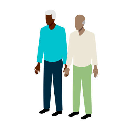men standing: Old isometric couple of african-american men standing holding hands Illustration