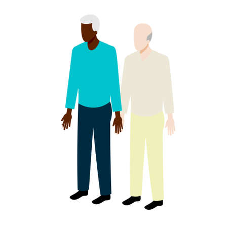 african american couple: Old isometric couple  of african-american and white men standing holding hands