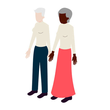 white women: Old isometric couple  of african-american and white women standing holding hands