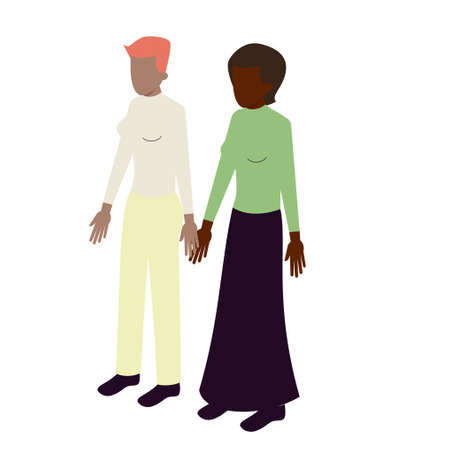 impersonal: young isometric couple of african-american women standing holding hands Illustration