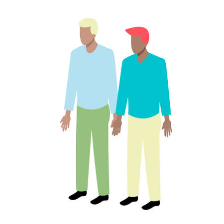 men standing: Young isometric couple of african-american men standing holding hands