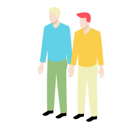 mister: Young isometric couple standing holding hands