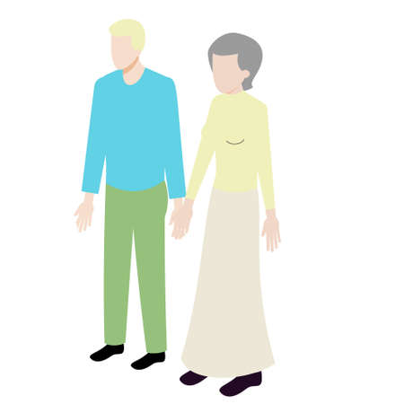 mature men: Isometric couple of old woman and young man standing holding hands