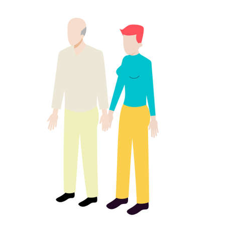 mixed age range: Isometric couple of old man and young woman standing holding hands Illustration
