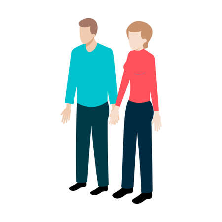 usual: Couple of young people standing full face holding hands. Stock Vector Isometric-style games, infographics, reports, websites and icons