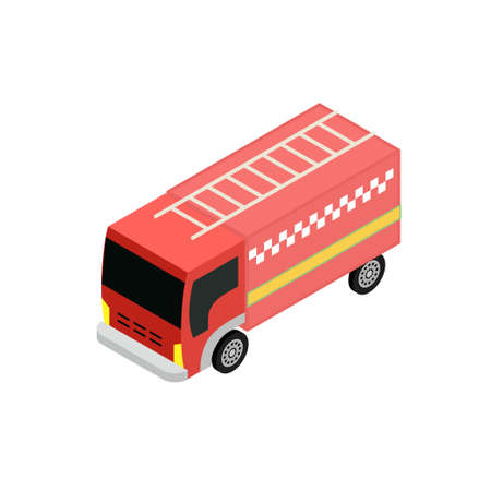 responders: Isometrick fire truck icon for infographic and game design