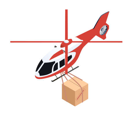 delivering: Isometric vector icon of helicopter delivering cargo Illustration