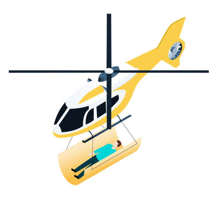 emergency stretcher: Isometric icon of emergency helicopter with people on stretcher