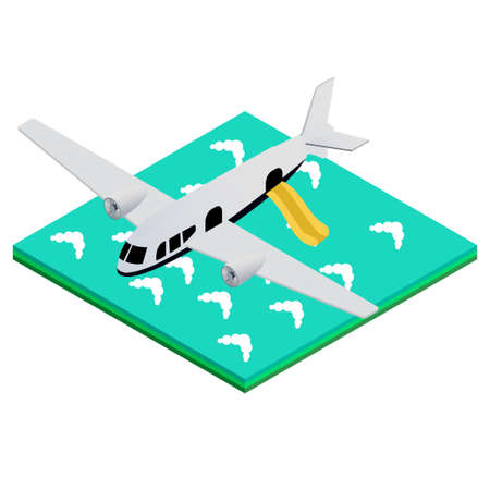 obtain: isometric vector illustration of an airplane landing on the water with a flat inflatable ladder. To obtain safety instructions Illustration