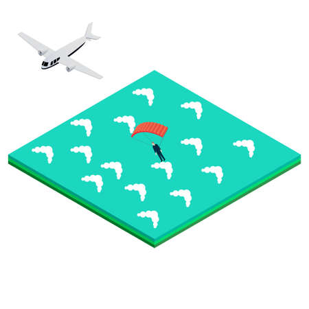 skydiver: skydiver jumps out of the airplane into the ocean. Isometric vector illustration for infographics, brochures and websites Illustration