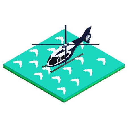 splashed: isometric vector illustration splashed helicopter designs for brochures, infographics