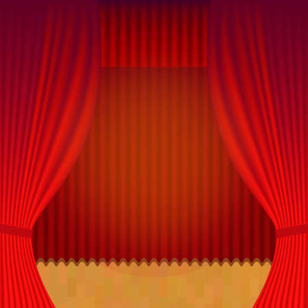 performing arts: Curtain Theatre reopening. Vector background for invitations, announcements of events and exhibitions Illustration