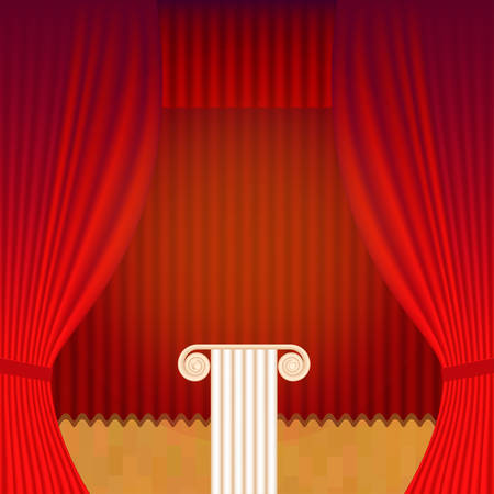 thespian: A scene with a theater curtain and pedestal. Vector background for announcements of events, lectures and exhibitions