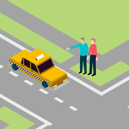 two lane highway: Man and woman standing on pavement while catching taxi Illustration
