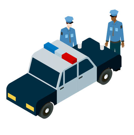 without clothes: isometric illustration of two policemen drinking coffee on the hood of the police car. For infographic, game design and web icons