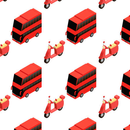 double decker bus: Isometric double decker bus and moped seamless pattern