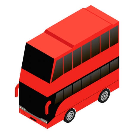 double: London double decker red icon Illustration