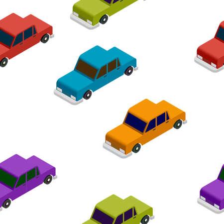 pileup: Isometric basic colorful car seamless pattern illustration Stock Photo