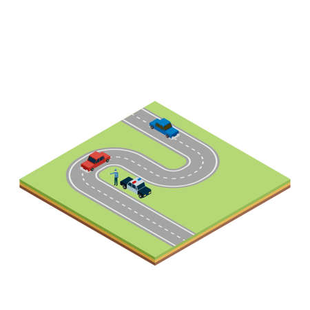 highway patrol: Isometric road tile with cars and police car