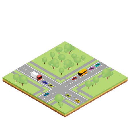 crossroads: Isometric country crossroads concept. illustration for infographics and web design