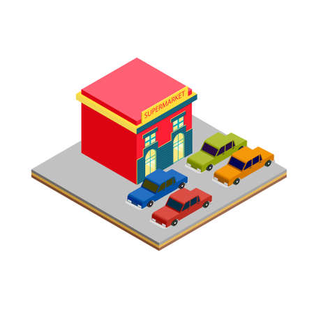 greengrocer: Isometric supermarket cars parking for game tile and infographics