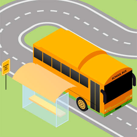 wipers: Isometric school bus stop with sign and road Illustration