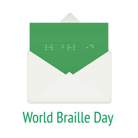 braille: concepto del mundo día braille. guión sistema de comunicación para la ilustración ciego, vector