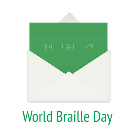 sightless: World braille day concept. Communication system script for blind, vector illustration