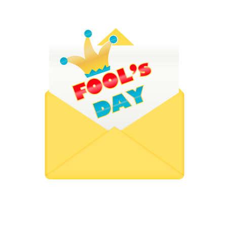 humor: Fools day design envelope. Happy and funny humor celebration, vector illustration