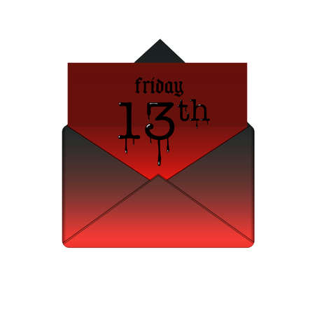 red sheet: Friday the 13th banner in envelope. Mystery date or scary day, illustration message with paper red sheet vector