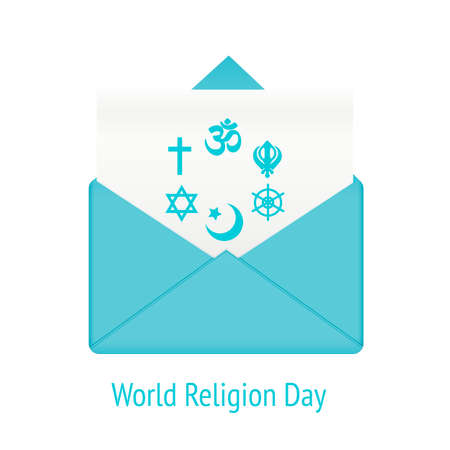 catholicism: World religion day concept. Message in envelope with community international religion islam and catholicism, vector illustration
