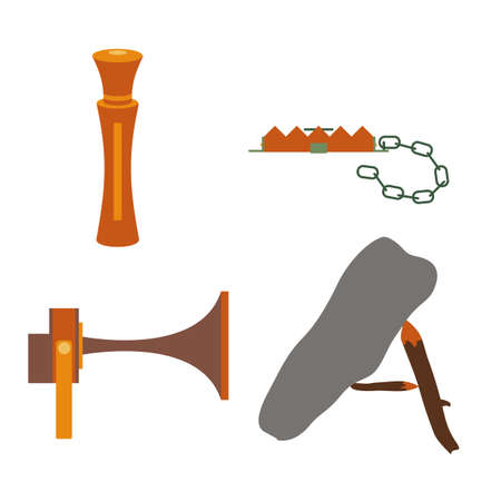 traps: Objects for hunting baits and traps for catch. Metal equipment for animal. Vector illustration