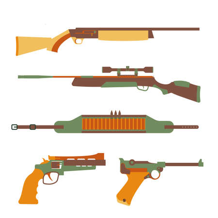 firearms: Firearms set design flat. Military weapon and gun, pistol for defense, vector illustration