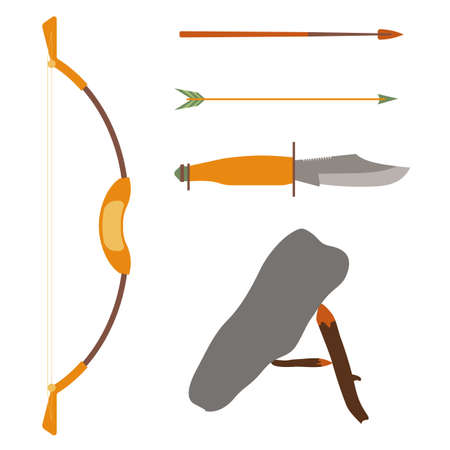 traditional weapon: Ancient history hunting objects. Weapon arrow and bow, traditional medieval weapon. Vector illustration Illustration