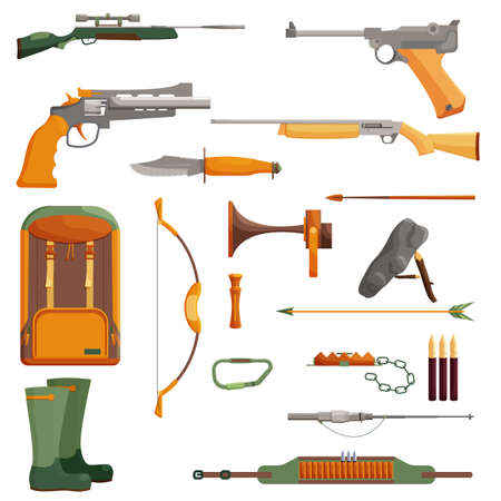ammunition: Hunting object of set. Cartoon collection shotgun and ammunition, vector illustration