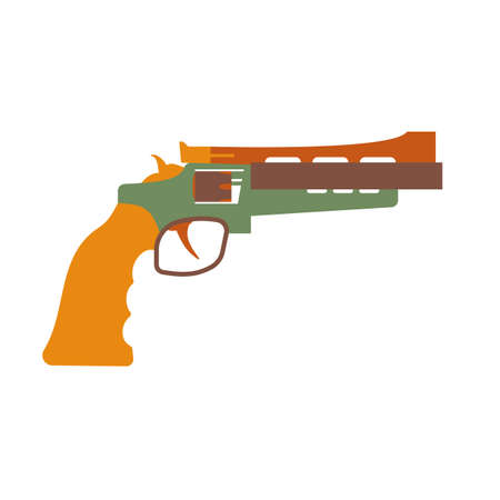 ammunition: Hunting ammunition. Cartoon revolver icon, vector illustration