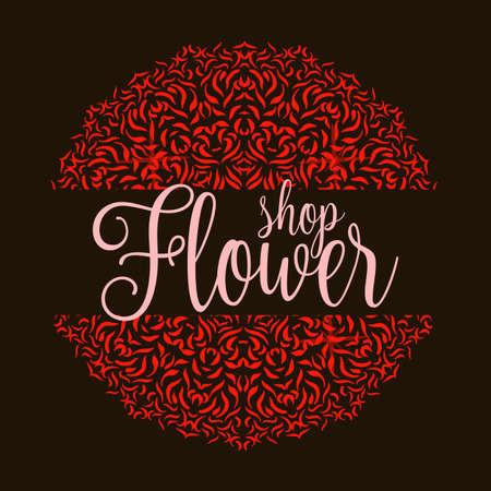 abstract design elements: Flowers shop with red mandala. Ornament flower decoration for shop. Vector illustration Illustration