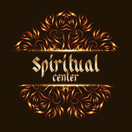 mediation: Spiritual center mandala. Sacred spirituality pattern, floral symbolic for indian mediation. Vector illustration Illustration