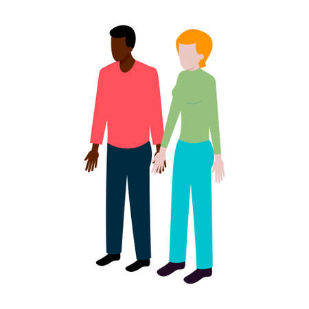 teenagers having fun: flat Isometric international couple sign. International family icon vector illustration. Black man and white woman