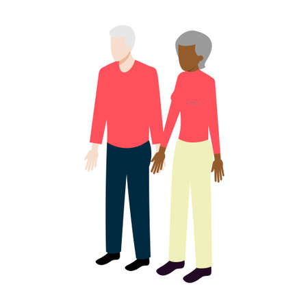 older woman smiling: Flat Isometric internationalold couple sign. Aged family vector icon Illustration