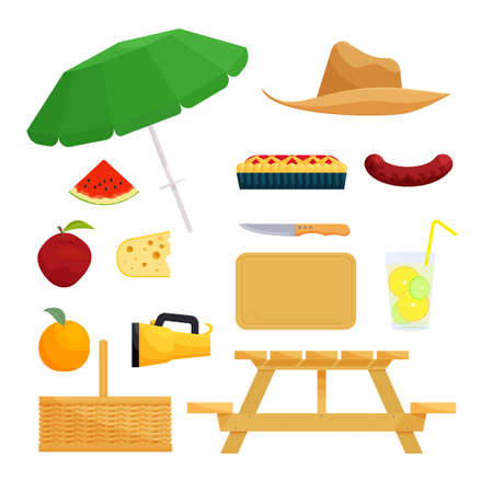 picnic food: Set of objects for picnic. Food and basket, barbecue and recreation, vector illustration