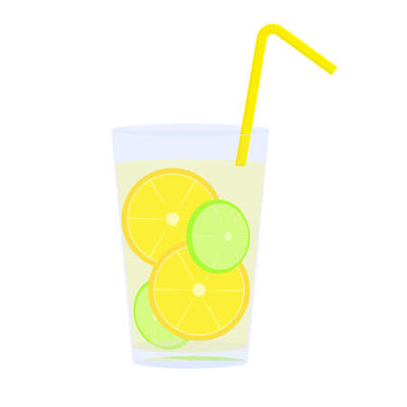 catroon: Icon of glass with lemonade, straw and citrus slices vector illustration catroon Illustration